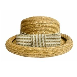 Vntg 80s 100% Straw Hat Bow Detail Cottage Core S